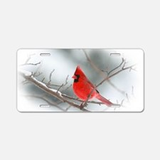red cardinal christmas Aluminum License Plate