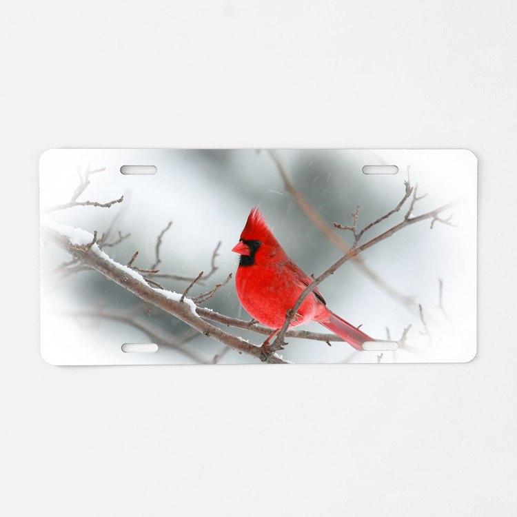 red cardinal christmas Aluminum License Plate