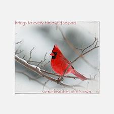 red cardinal christmas Throw Blanket