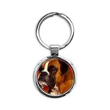 Boxer red round ornament Round Keychain