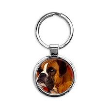 Boxer red rec magnet Round Keychain