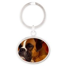 Boxer red post Oval Keychain