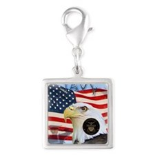 NAVY 1 Silver Square Charm
