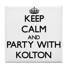 Keep Calm and Party with Kolton Tile Coaster