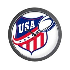 merican rugby ball shield usa Wall Clock