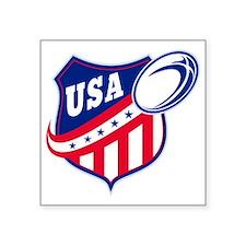 "merican rugby ball shield u Square Sticker 3"" x 3"""