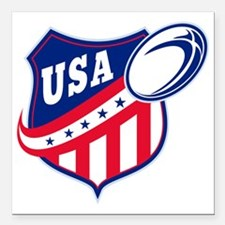 "merican rugby ball shiel Square Car Magnet 3"" x 3"""