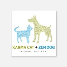 "10010_KarmaCat_ZenDog_Logo Square Sticker 3"" x 3"""