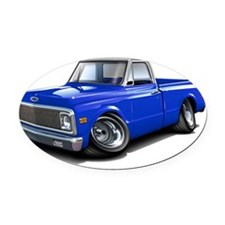 1970-72 Chevy Fleetside Blue-White Oval Car Magnet