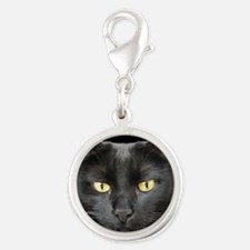 Dangerously Beautiful Black Cat Silver Round Charm