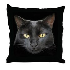 Dangerously Beautiful Black Cat Throw Pillow