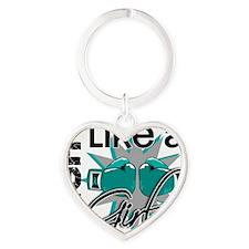 Fight Like A Girl Ovarian Cancer 13 Heart Keychain