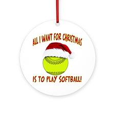 softball santa Round Ornament