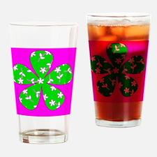 Pink Green Floral Designer St. Patr Drinking Glass