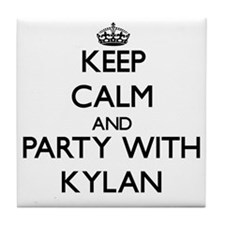 Keep Calm and Party with Kylan Tile Coaster