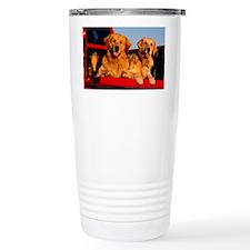Golden PU L print Travel Mug