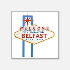 "Belfast - Las Vegas Sign Square Sticker 3"" x 3"""