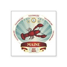 "Maine Lobster Crest Square Sticker 3"" x 3"""