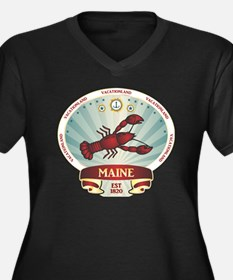 Maine Lobste Women's Plus Size Dark V-Neck T-Shirt