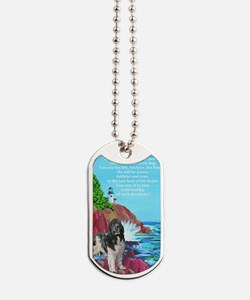landseer and lighthouse Dog Tags