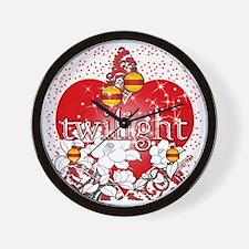 twilight red heart christmas tree squar Wall Clock