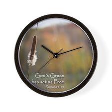 Gods Grace Cattail Wall Clock