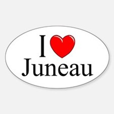 """I Love Juneau"" Oval Decal"