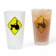 yellow_tractor_crossing_sign_real Drinking Glass