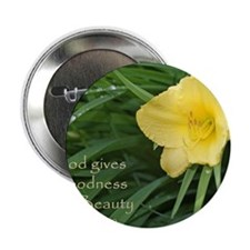 """Lily with Water Drops 2.25"""" Button"""