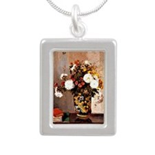 Chrysanthemums in a Chin Silver Portrait Necklace