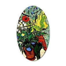 Van Gogh: Wild Flowers and T 35x21 Oval Wall Decal