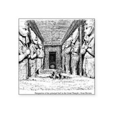 "egypt great temple hall Square Sticker 3"" x 3"""