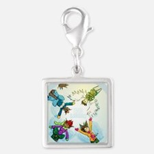 Snow Angels Ornament Silver Square Charm