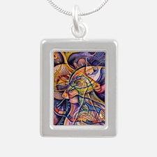 Huichol Eagle - Large Silver Portrait Necklace