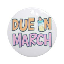 Due In March Girl Ornament (Round)