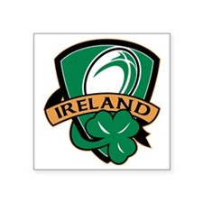 "rugby ball ireland shield s Square Sticker 3"" x 3"""
