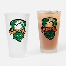 rugby ball ireland shield shamrock Drinking Glass