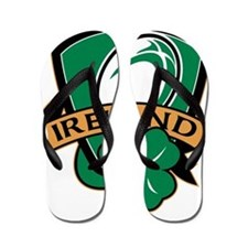 rugby ball ireland shield shamrock Flip Flops