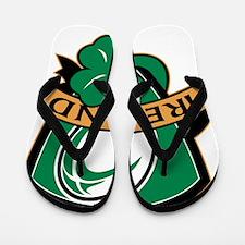 rugby ball ireland shield shamrock Flip Flops