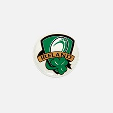 rugby ball ireland shield shamrock Mini Button