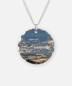 psalm23button Necklace Circle Charm