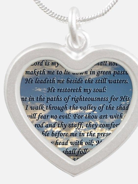 psalm23framedprint Silver Heart Necklace