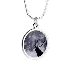zazzle_elk_silhouette_card1 Silver Round Necklace