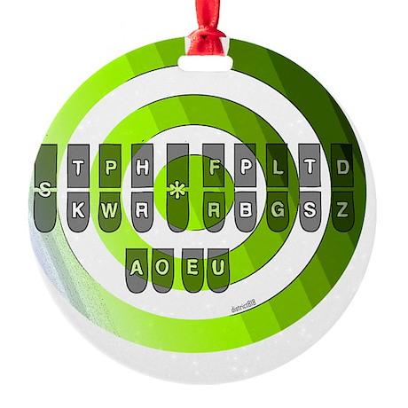 steno_keyboard_chart_jpg_green Round Ornament