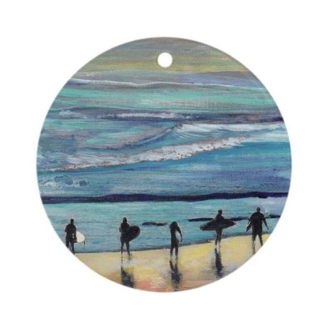 surfers oceanside california by Ric Round Ornament