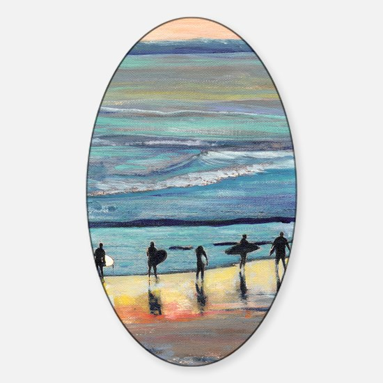surfer painting by RD RIccoboni Sticker (Oval)