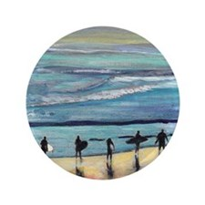 """surfers oceanside california by Riccob 3.5"""" Button"""
