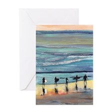 surfer painting by RD RIccoboni Greeting Card