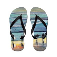 surfer painting by RD RIccoboni Flip Flops