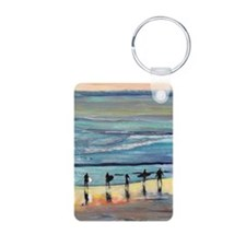 surfer painting by RD RIcc Keychains